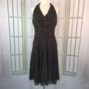 Jones New York Halter Silk Dress Fit Flare